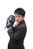 Young Business Man pitching baseball Stock Photography