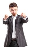 Young business man pointing to the camera Royalty Free Stock Image