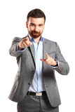 Young business man pointing to the camera royalty free stock images