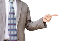Young business man pointing to his side Stock Images