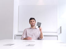 Young business man portrait  at modern office Royalty Free Stock Images