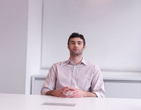 Young business man portrait  at modern office Stock Images