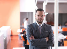Young business man portrait  at modern office Royalty Free Stock Photography