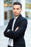 Young business man portrait outdoor Royalty Free Stock Photo