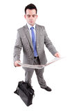 Young business man posing. Isolated over white Royalty Free Stock Photo