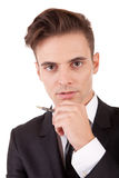 Young business man posing. Isolated over white Stock Photo