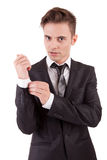 Young business man posing. Isolated over white Royalty Free Stock Image