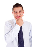 Young business man posing. Isolated over white Stock Photography