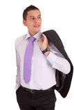 Young business man posing. Isolated over white Stock Image