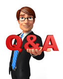 Young Business Man with Q & A Royalty Free Stock Image