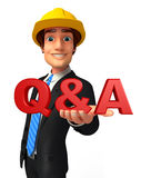 Young Business Man with Q & A Stock Images