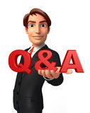 Young Business Man with Q & A Stock Photo