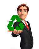 Young Business Man with recycle icon Royalty Free Stock Photography