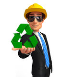 Young Business Man with recycle icon Royalty Free Stock Photos