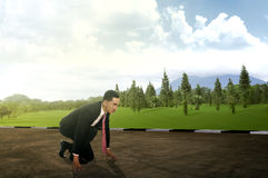 Young business man running on the street Royalty Free Stock Photos