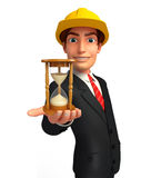 Young Business Man with sand clock Stock Images