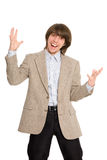 Young business man screaming Royalty Free Stock Images