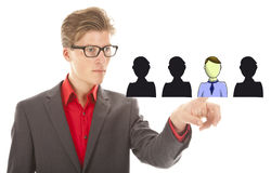 Young business man selecting virtual friends isolated Royalty Free Stock Photo