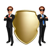 Young Business Man with shield Stock Photo