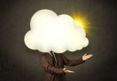 Young business man in shirt and tie with a sunny cloud head Royalty Free Stock Image
