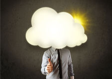 Young business man in shirt and tie with a sunny cloud head Royalty Free Stock Photos