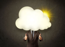Young business man in shirt and tie with a sunny cloud head Royalty Free Stock Photo