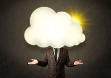 Young business man in shirt and tie with a sunny cloud head Stock Image