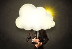 Young business man in shirt and tie with a sunny cloud head Stock Photography