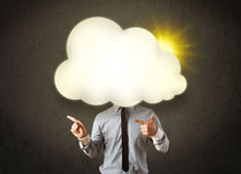 Young business man in shirt and tie with a sunny cloud head Stock Photos