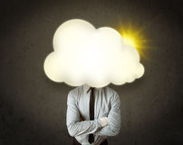Young business man in shirt and tie with a sunny cloud head Stock Images