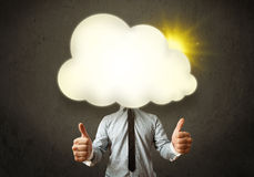 Young business man in shirt and tie with a sunny cloud head Royalty Free Stock Images