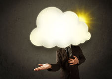 Young business man in shirt and tie with a sunny cloud head Stock Photo