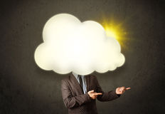 Young business man in shirt and tie with a sunny cloud head Royalty Free Stock Photography