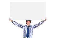 Young business man showing blank signboard Stock Photos