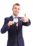 Young business man showing business card Royalty Free Stock Photography