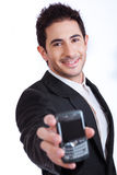 Young business man showing mobile phone Stock Image