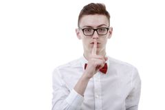 young business man showing silence gesture Royalty Free Stock Photography