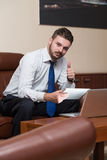 Young Business Man Showing Thumbs Up Stock Images