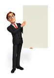 Young Business Man with sign Stock Photo