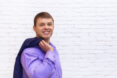 Young Business Man Smile, Businessman Wear Elegant Violet Suit Stock Photos