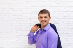 Young Business Man Smile, Businessman Wear Elegant Violet Suit Royalty Free Stock Photo