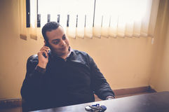 Young business man smile in mobile Royalty Free Stock Photography