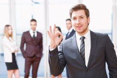 Young business man standing in front of his co Royalty Free Stock Photography
