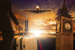 Young Business Man Standing With Luggage On Urban Airport Runway Royalty Free Stock Image