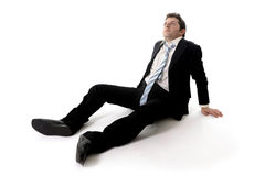 Young Business Man in Stress on the floor Stock Photo
