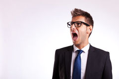 Young business man or student screaming Stock Photos