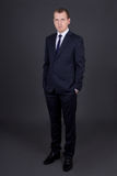 Young business man in suit standing over grey Stock Photos