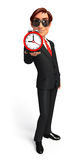 Young Business Man with table clock Royalty Free Stock Photos
