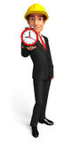 Young Business Man with table clock Stock Photography