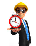 Young Business Man with table clock Royalty Free Stock Image